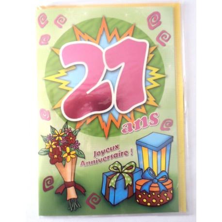 Carte postale neuve fête joyeux anniversaire 21 ans (lot 02)