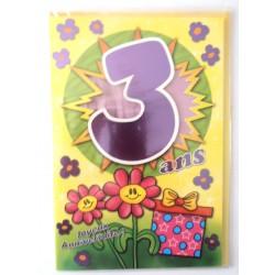 Carte postale neuve fête joyeux anniversaire 3 ans (lot 09)