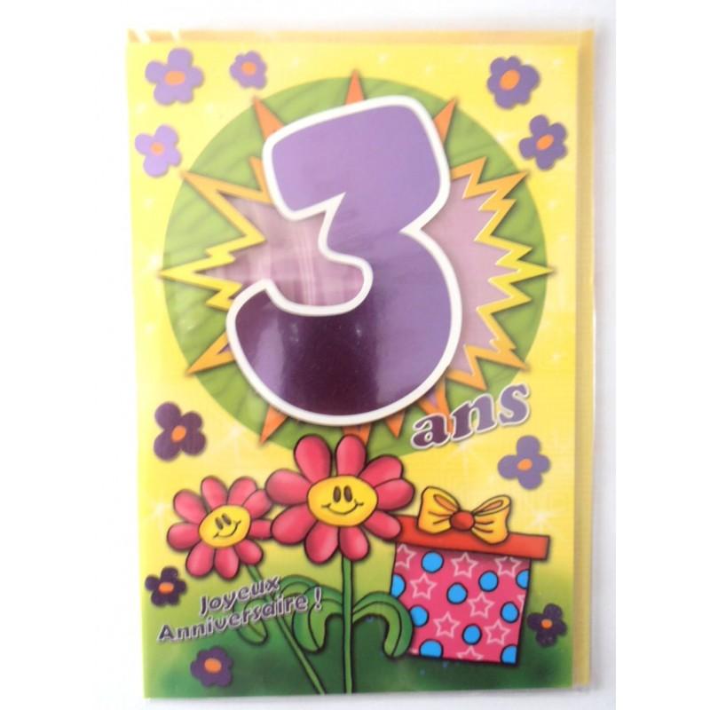 Carte Postale Neuve Fete Joyeux Anniversaire 3 Ans Lot 09