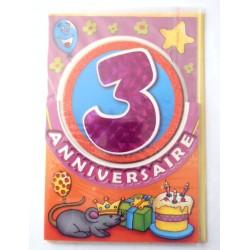 Carte postale neuve fête joyeux anniversaire 3 ans (lot 09) 02