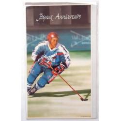 Carte postale neuve avec enveloppe joyeux anniversaire hockey sur glace (48.05)