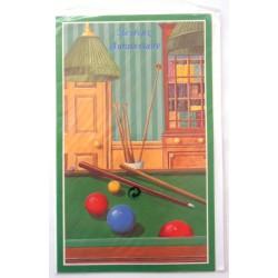 Carte postale neuve avec enveloppe joyeux anniversaire billard (48.06)