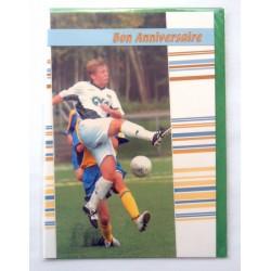 Carte postale neuve avec enveloppe joyeux anniversaire foot (48.08)
