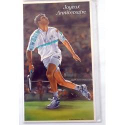Carte postale neuve avec enveloppe joyeux anniversaire tennis (48.09)