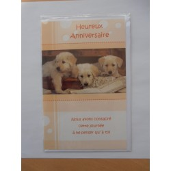 Carte postale neuve avec enveloppe joyeux anniversaire chiot (49.05)