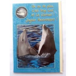 Carte postale neuve avec enveloppe joyeux anniversaire dauphin ( 51.03)