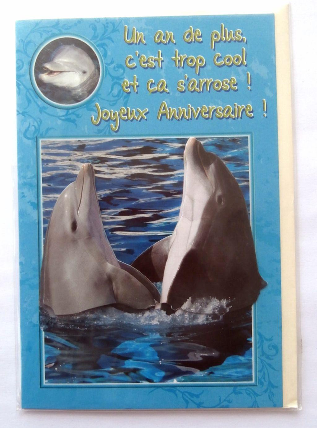 Carte Anniversaire Dauphin.Carte Postale Neuve Avec Enveloppe Joyeux Anniversaire Dauphin