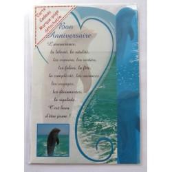 Carte postale neuve avec enveloppe joyeux anniversaire dauphin marque page ( 51.04)
