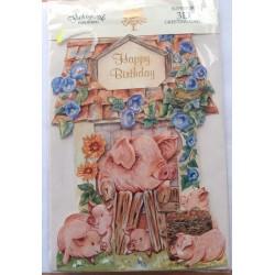 Carte postale neuve avec enveloppe joyeux anniversaire cochon ( 52.01)