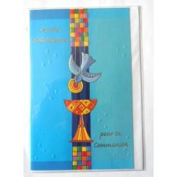 Carte postale double avec enveloppe félicitation communion fond bleu neuve