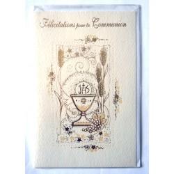 Carte postale double avec enveloppe félicitation communion déco couleur or neuve