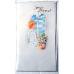 Carte postale double avec enveloppe félicitation communion enfant communiant neuve