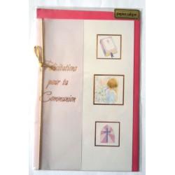 Carte postale double avec enveloppe félicitation communion calque rose neuve