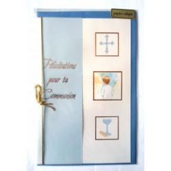 Carte postale double avec enveloppe félicitation communion calque bleu neuve
