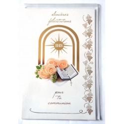 Carte postale double avec enveloppe félicitation communion neuve