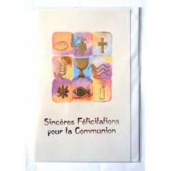 Carte postale double avec enveloppe félicitation communion multi dessins neuve