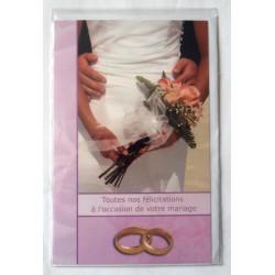 Carte postale double avec enveloppe félicitations MARIAGE mauve avec alliances neuve