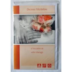 Carte postale double avec enveloppe félicitations MARIAGE mains alliances neuve