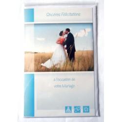Carte postale double avec enveloppe félicitations MARIAGE couleur bleu neuve