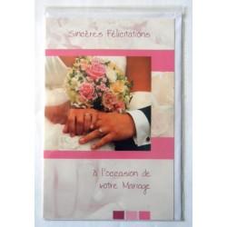 Carte postale double avec enveloppe félicitations MARIAGE bouquet alliances neuve