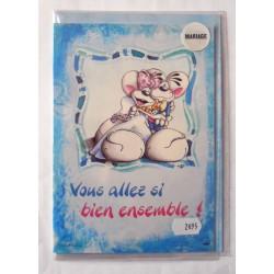 Carte postale double avec enveloppe félicitations MARIAGE Diddl humour neuve
