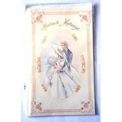 Carte postale double avec enveloppe félicitations MARIAGE fleuris couple neuve