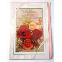 Carte postale double avec enveloppe félicitations MARIAGE bouquet de roses neuve