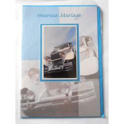 Carte postale double avec enveloppe mariage félicitations voiture neuve