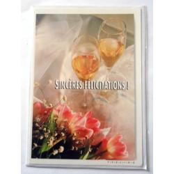 Carte postale simple avec enveloppe mariage félicitations neuve