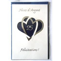 Carte postale double avec enveloppe félicitations anniversaire MARIAGE noces d'argent 25 ans bleu neuve