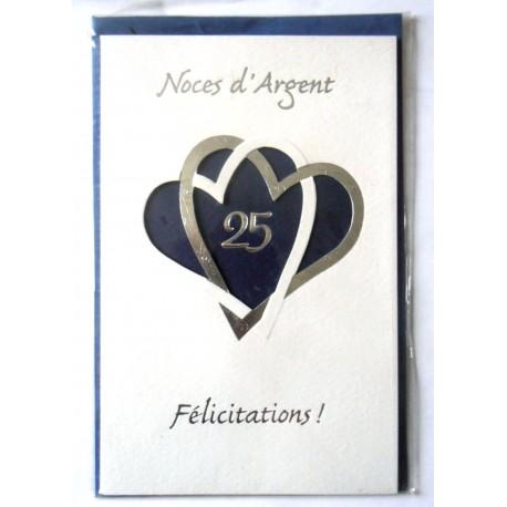 Carte Postale Double Avec Enveloppe Felicitations Anniversaire Mariage Noces D Argent 25 Ans Bleu Neuve Amzalan Com