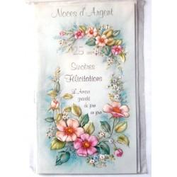 Carte postale double avec enveloppe félicitations anniversaire MARIAGE noces d'argent 25 ans neuve