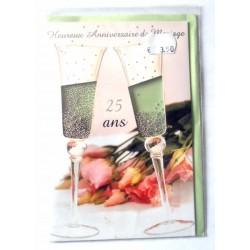 Carte postale neuve avec enveloppe félicitations anniversaire MARIAGE noces d'argent 25 ans (lot 12.05)