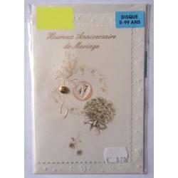 Carte postale double avec enveloppe anniversaire MARIAGE disque de 0-99 ans neuve