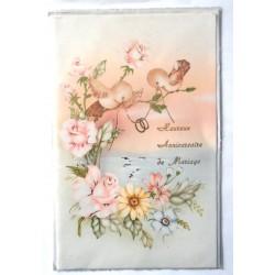 Carte postale double avec enveloppe anniversaire de mariage félicitations neuve