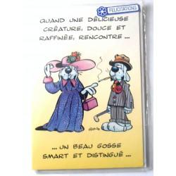 Carte postale double avec enveloppe anniversaire mariage félicitations Gai luron humour neuve