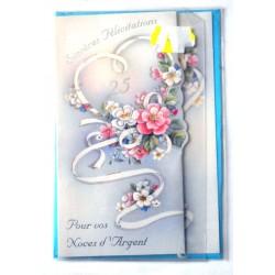 Carte postale neuve avec enveloppe félicitations anniversaire MARIAGE noces d'argent 25 ans (lot 12.10)