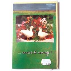 Carte postale double avec enveloppe félicitations anniversaire MARIAGE marque dates neuve