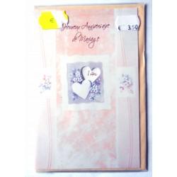 Carte postale double avec enveloppe anniversaire MARIAGE disque Multi dates neuve