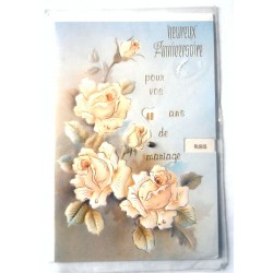Carte postale double avec enveloppe félicitations anniversaire MARIAGE disque Multi dates et noces neuve