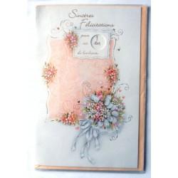Carte postale neuve avec enveloppe félicitations anniversaire MARIAGE disque Multi dates noces (lot 13.09)