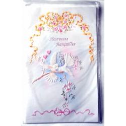 Carte postale double avec enveloppe heureuse fiançailles colombes neuve