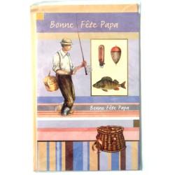 Carte postale double avec enveloppe fête des pères pêcheur neuve