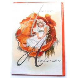 Carte postale neuve avec enveloppe joyeux anniversaire ( lot 57.11)