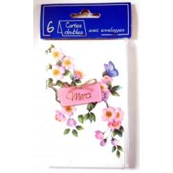 Lot de 6 faire parts avec enveloppe remerciement merci anniversaire mariage condoléances (lot 01.01)