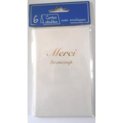 Lot de 6 faire parts avec enveloppe remerciement merci anniversaire mariage condoléances (lot 01.04)