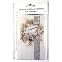 Lot de 5 faire parts avec enveloppe remerciement merci anniversaire mariage condoléances (lot 04.02)