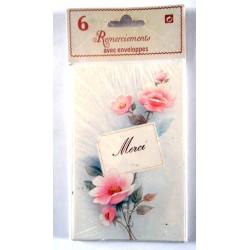 Lot de 6 faire parts avec enveloppe remerciement merci anniversaire mariage condoléances (lot 04.03)