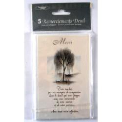 Lot de 5 faire parts avec enveloppe remerciement merci DEUIL condoléances (lot 05.02)