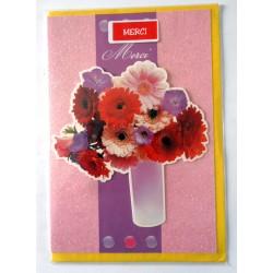 Carte postale neuve avec enveloppe remerciement merci anniversaire mariage FLEURS 3 D (lot 10)